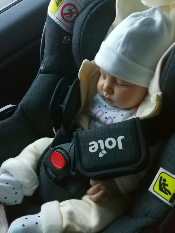 IVF baby girl in car